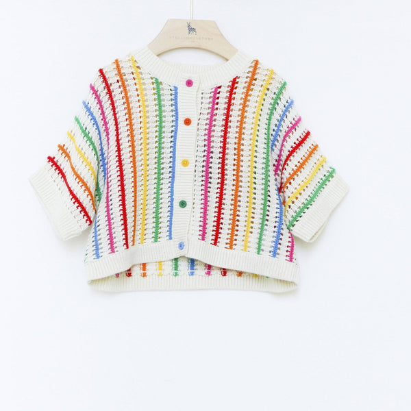 Stella McCartney Kids,Rainbow Stripes Knit Cardigan, Pre-order,CouCou,Baby Girl Clothes