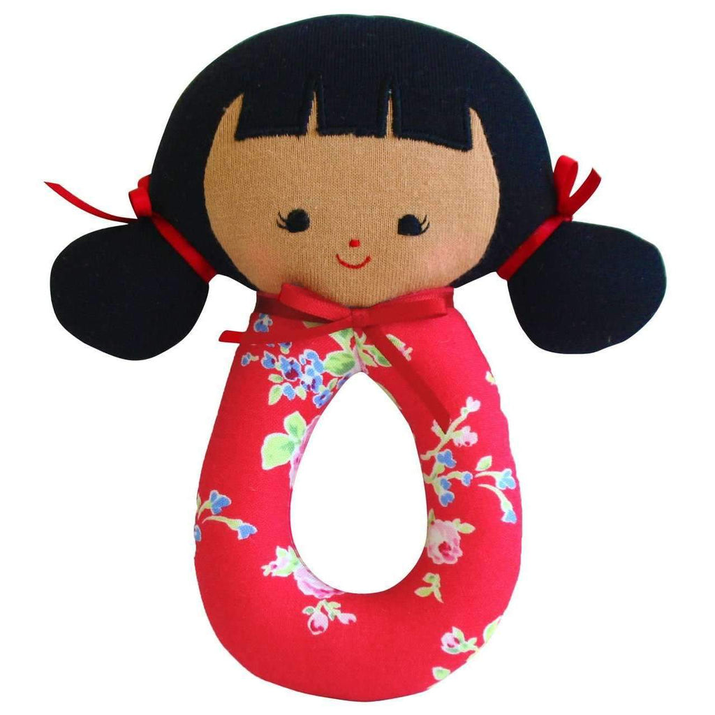 Alimrose,Audrey Grab Rattle, Red Floral,CouCou,Toy