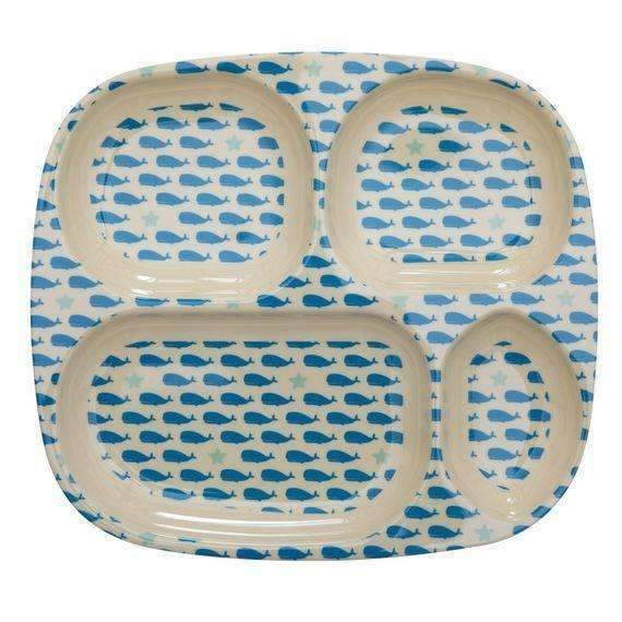 RICE,4-room plate with Whale & Starfish Print,CouCou,Kitchenware