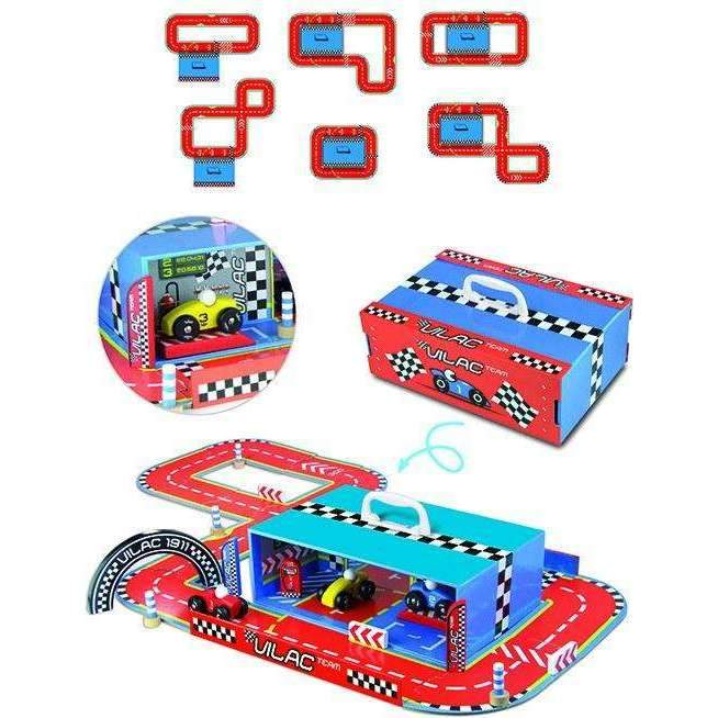 Vilac,Race Track Suitcase (6 Track Configurations),CouCou,Toy