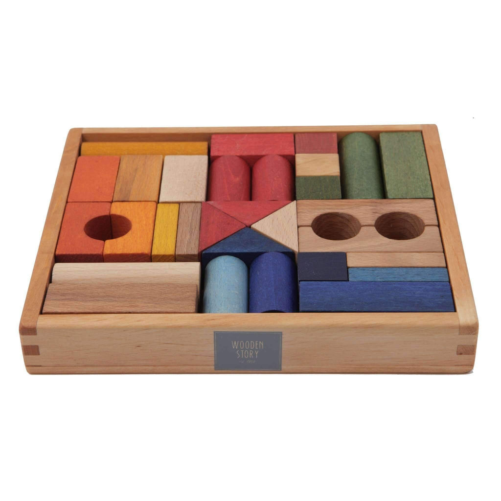 Wooden Story,Rainbow Blocks in Tray, 30 Pieces,CouCou,Toy