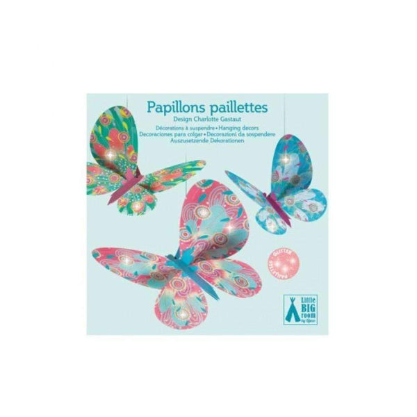 "Djeco,Lightweight Paper ""Glitter Butterflies"" Decoration,CouCou,Home/Decor"