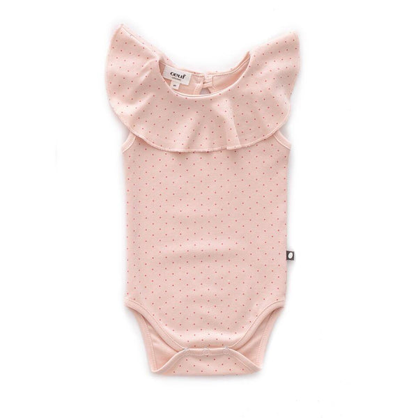 Oeuf,Ruffle Sleeveless Onesie in Pink,CouCou,Baby Girl Clothes