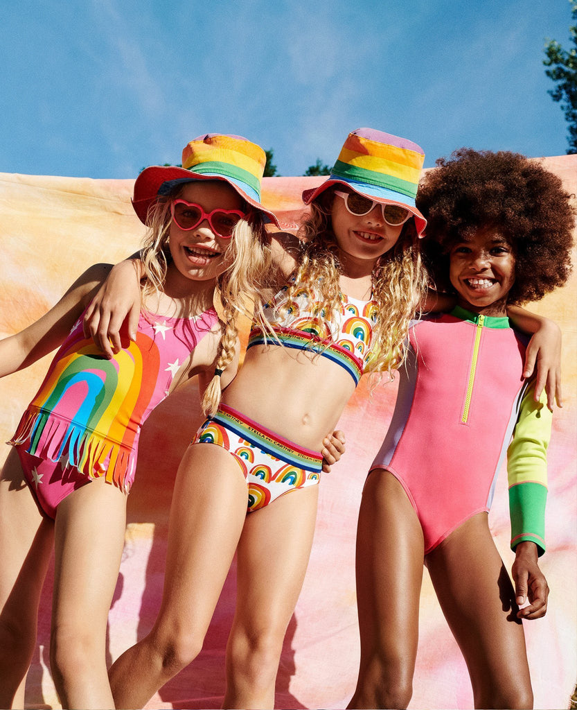 Stella McCartney Kids,Rainbow One-piece with Fringes, Pre-order,CouCou,Girl Swimwear