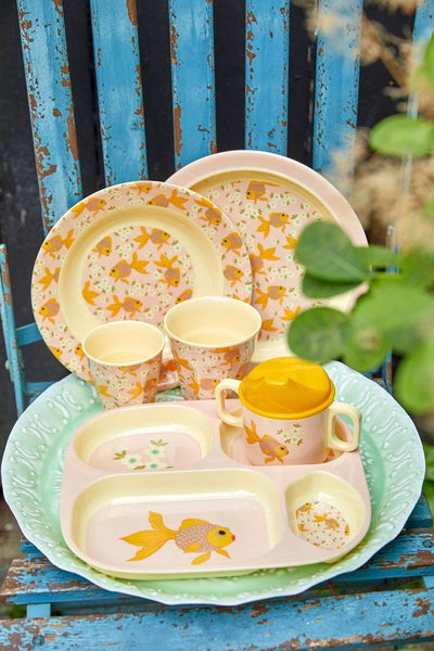 4-Room Plate, with Goldfish Print - Soft Pink