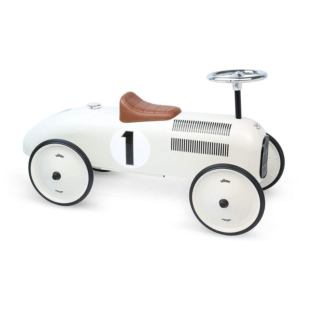Vilac,Ride-On Racing Car in Vintage White,CouCou,Toy