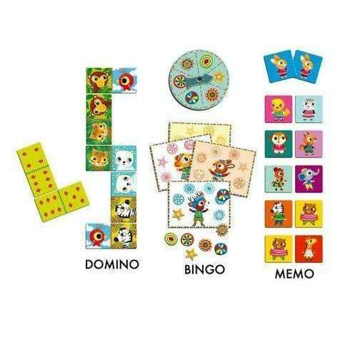 Djeco,Three-in-One: Bingo, Memory, and Dominoes,CouCou,Toy