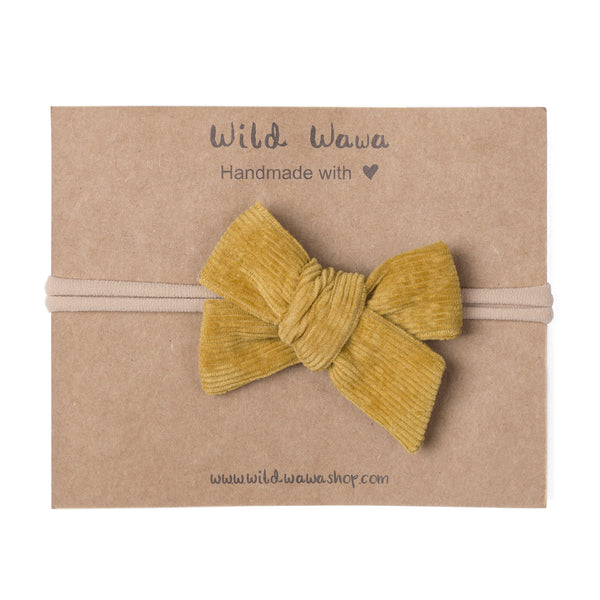 Wild Wawa,Bow Corduroy Headband in Mustard,CouCou,Baby Accessories