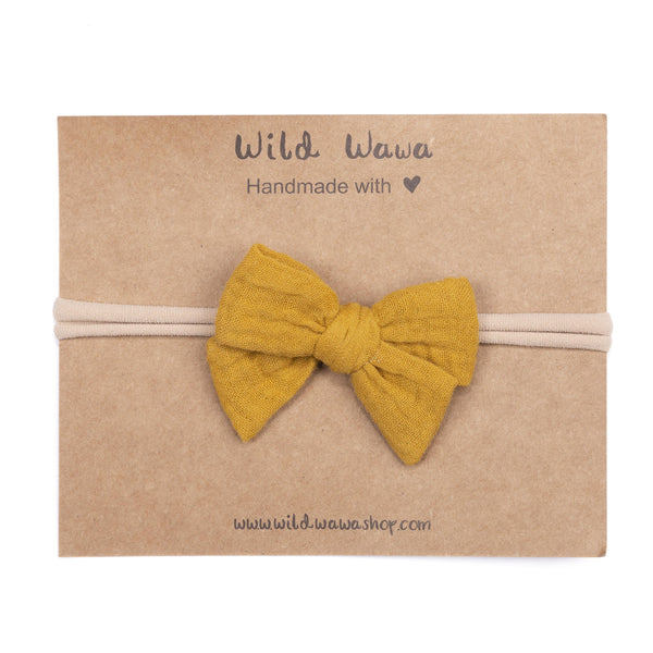 Wild Wawa,Bow Headband in Mustard,CouCou,Baby Accessories