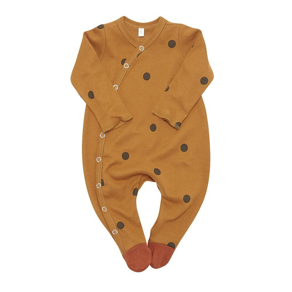 Organic ZOO,Spice Dots Bodysuit with Contrast Feet,CouCou,Baby Layette and Pyjama