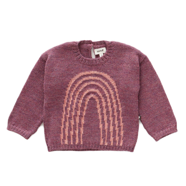 Oeuf,Rainbow Sweater in Mauve/Peony,CouCou,Baby Girl Clothes