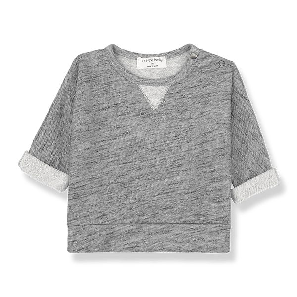 One more In The Family,Gurb Sweatshirt in Grey Melange,CouCou,Baby Boy Clothes