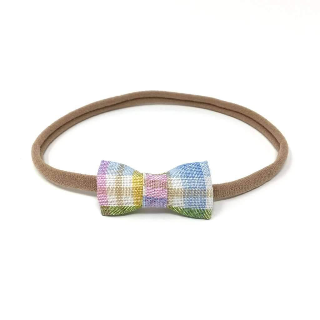 LuluLuvs,Spring Linen Plaid Handmade Bow Headband,CouCou,Baby Accessories