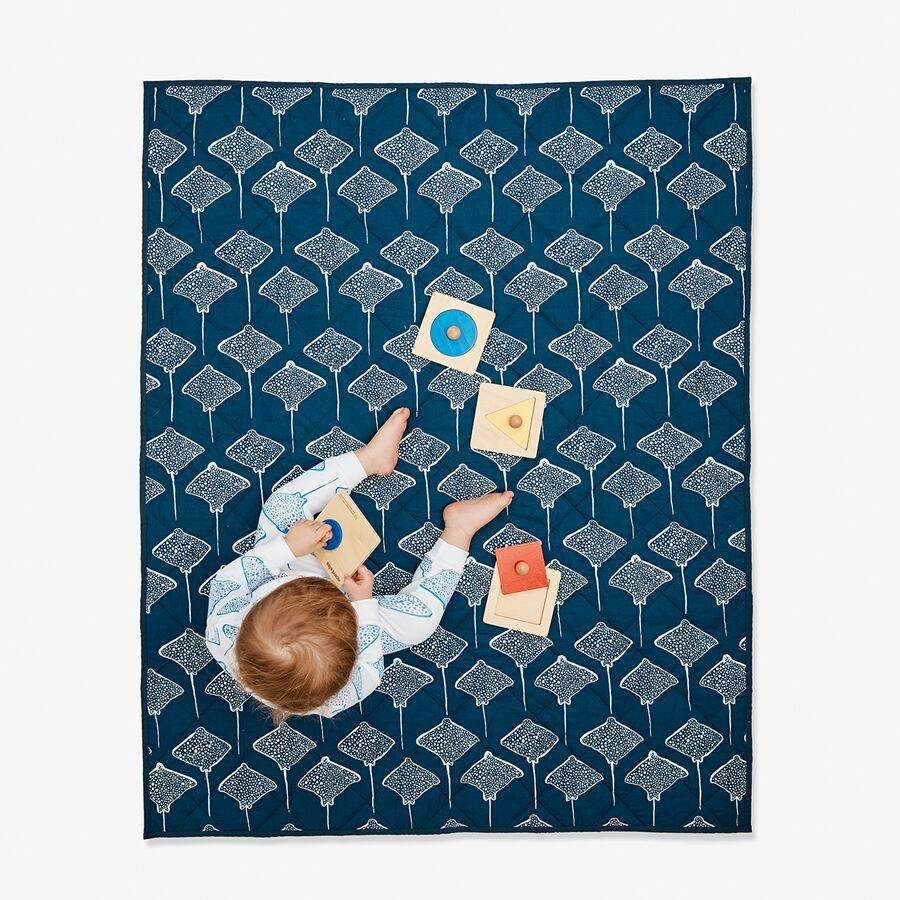 Lewis,Quilted Baby Blanket in Stingray,CouCou,Home/Decor