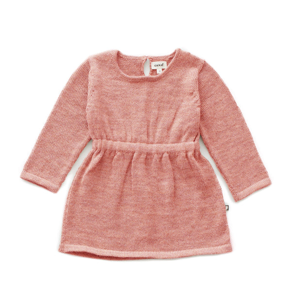 Oeuf,Long Sleeve Dress in Peony,CouCou,Girl Clothes