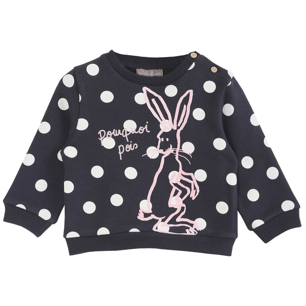 Emile et Ida,Black Dot Sweatshirt with Pink Bunny,CouCou,Baby Girl Clothes