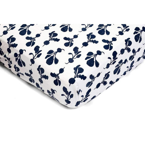 Crib Sheet in Denim Radish