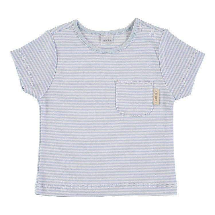 Petit Oh!,Short Sleeve T-Shirt in Blue Stripe,CouCou,Unisex Baby Clothes
