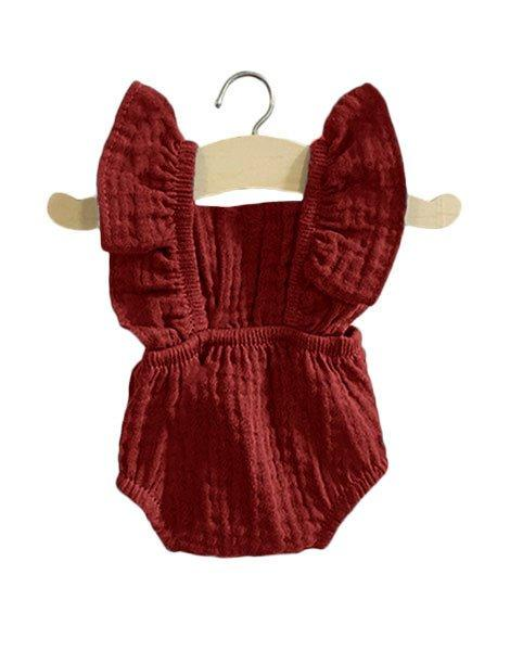 Doll Romper Retro Lou Double Gauze - Brick