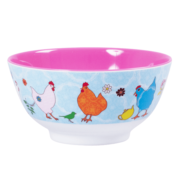 RICE,Two Tone Bowl with Hen Print,CouCou,Kitchenware
