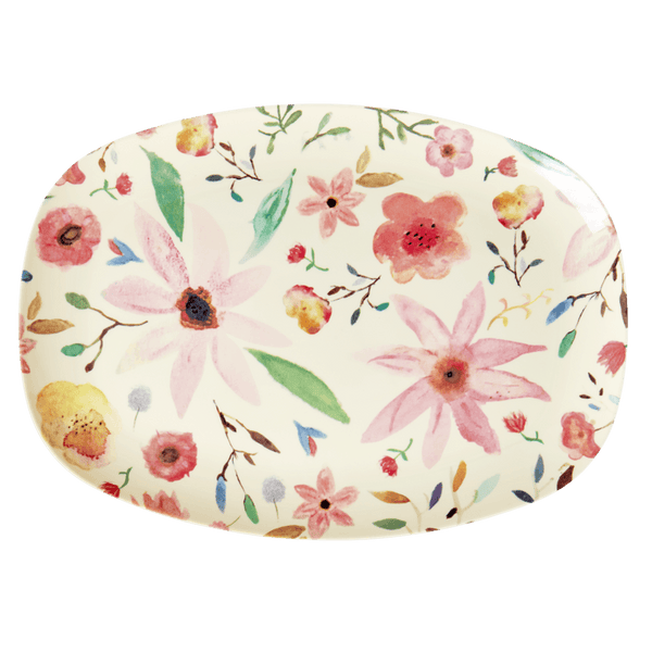 RICE,Rectangular Plate with Selmas Flower Print,CouCou,Kitchenware