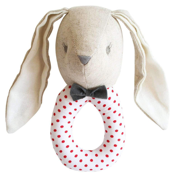 Alimrose,Louie Grab Rattle in Grey/Red,CouCou,Toy