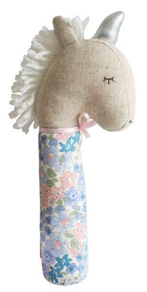 Alimrose,Yvette Unicorn Squeaker in Liberty Blue,CouCou,Toy