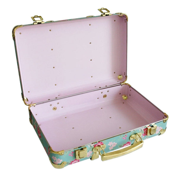 Vintage Style Carry Case in Aqua Cottage Rose