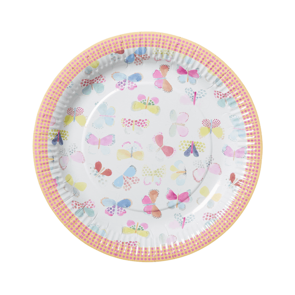 RICE,8 Paper Plate in Assorted Swimster and Butterfly Print,CouCou,Kitchenware