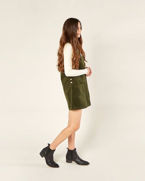 Corduroy Overall Dress in Forest