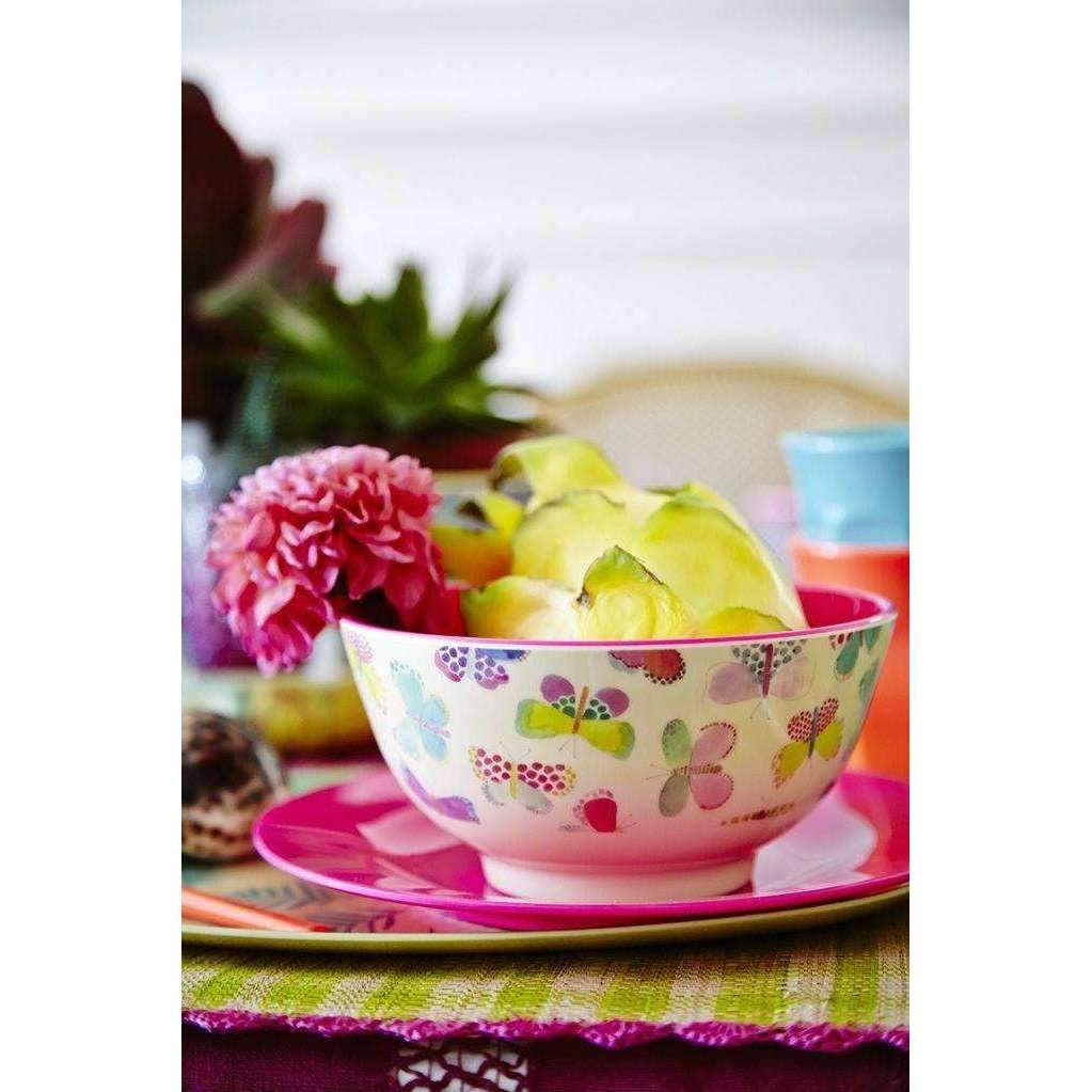 RICE,Small Two Tone Bowl with Butterfly Print,CouCou,Kitchenware