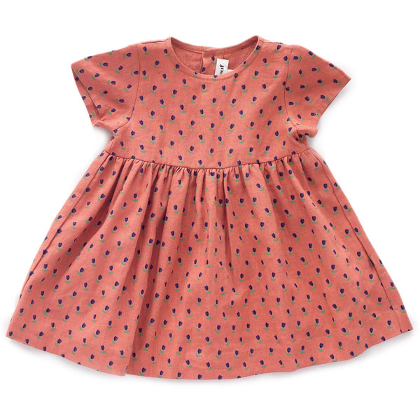 Oeuf,Short-sleeved Dress in Rust,CouCou,Girl Clothes