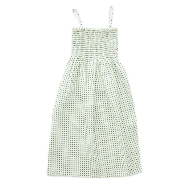 Oeuf,Smock Strap Dress with Green Dots,CouCou,Mamma Clothing