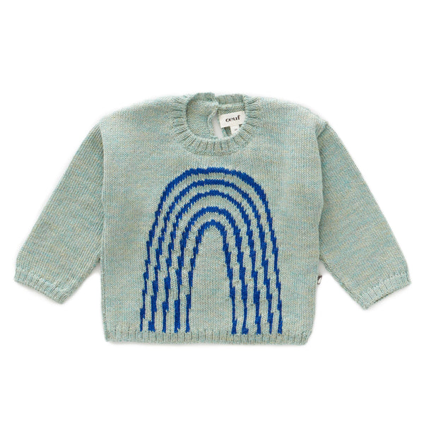 Oeuf,Rainbow Sweater in Ocean/Electric Blue,CouCou,Baby Boy Clothes