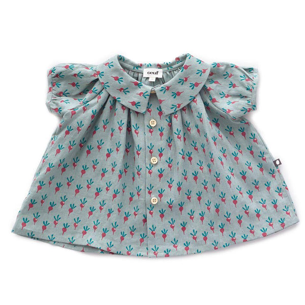Oeuf,Short-sleeved Blouse with Radishes,CouCou,Baby Girl Clothes
