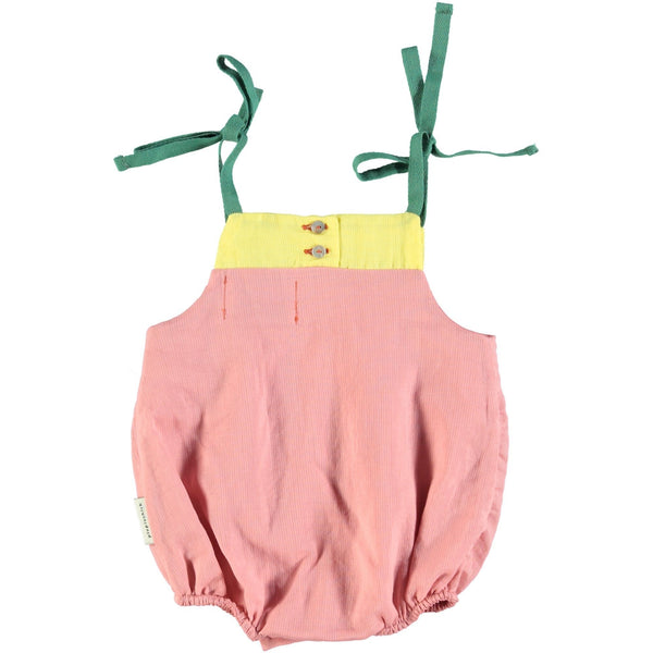 piupiuchick,Baby Tricolor Romper - Pink, Yellow & Green,CouCou,Baby Girl Clothes