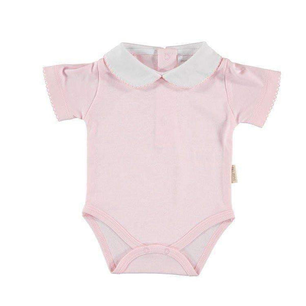 Petit Oh!,Short Sleeve Round Collar Onesie in Pink,CouCou,Baby Girl Clothes