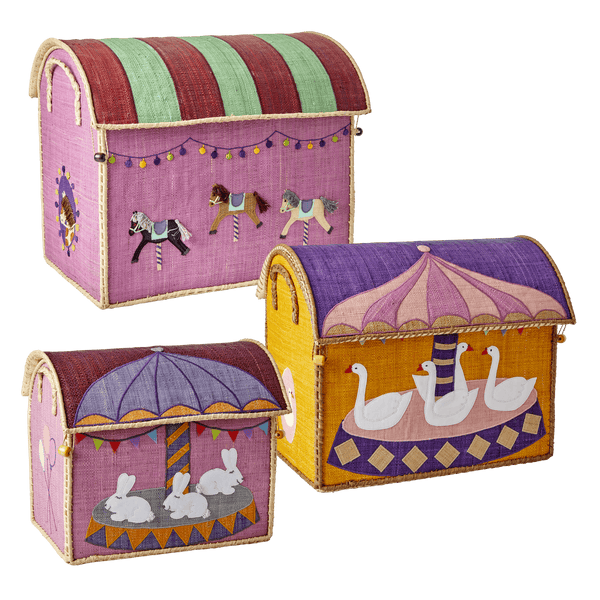 RICE,Medium Toy Basket in Carousel Design,CouCou,Home/Decor