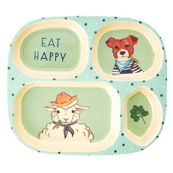 RICE,4-Room Plate with Farm Animals Print, Green,CouCou,Kitchenware