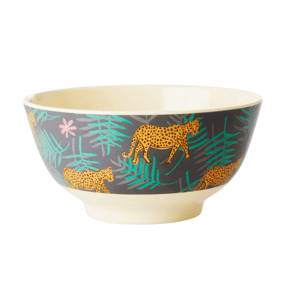 RICE,Two-Tone Bowl with Leopard and Leaves Print,CouCou,Kitchenware