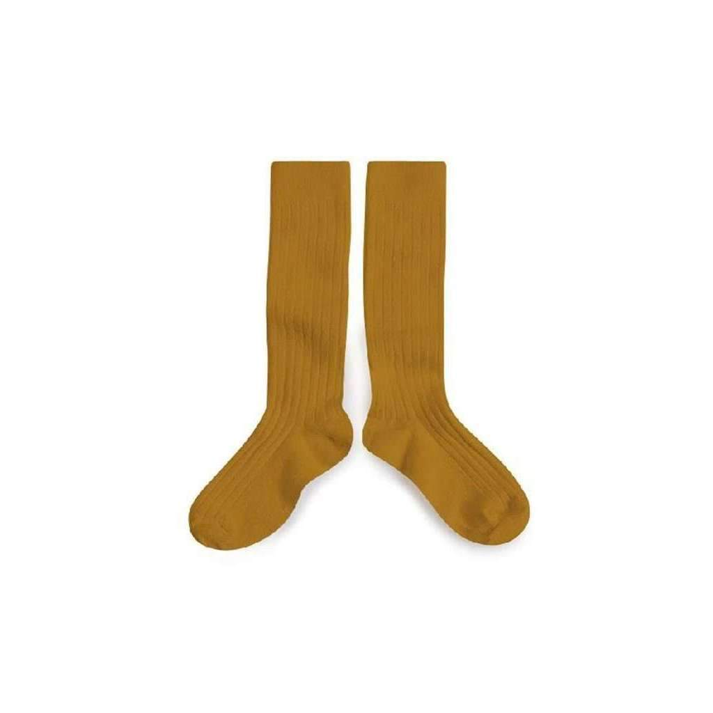 Collegien,Knee High Ribbed Socks, Mustard,CouCou,Girl Shoes, Socks & Tights