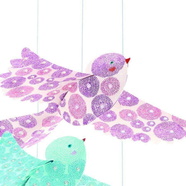 "Djeco,Lightweight Paper ""Glitter Birds"" Hanging Decoration,CouCou,Home/Decor"