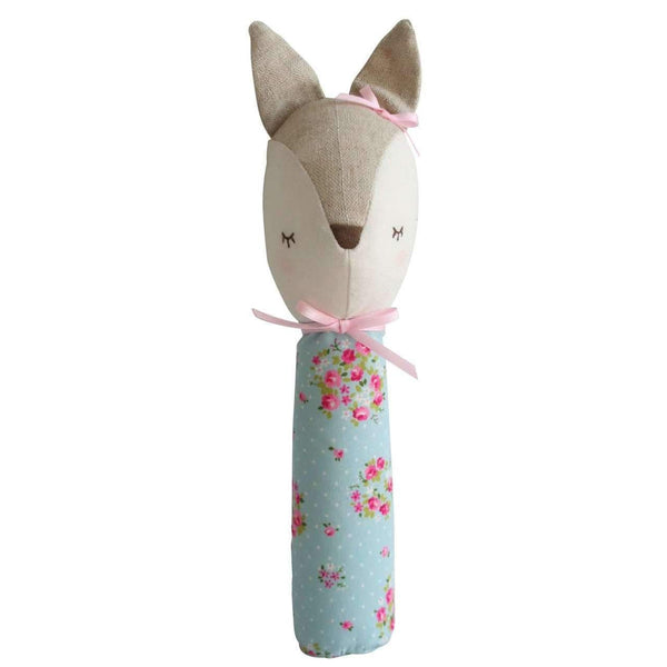 Alimrose,Dreaming Daphne Deer Squeaker in Blue Floral,CouCou,Toy