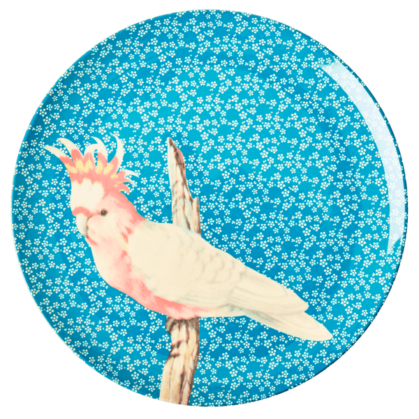 RICE,Kids Melamine Dinner Plate with Vintage Bird Print, Blue,CouCou,Kitchenware