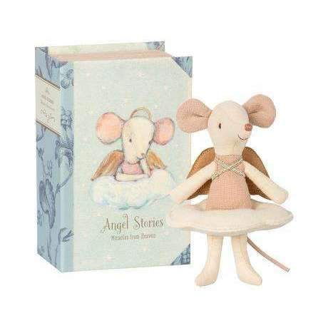 Maileg,Angel Mouse Big Sister on Book,CouCou,Toy