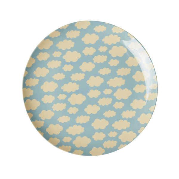 RICE,Lunch Plate with Cloud Print, Blue,CouCou,Kitchenware