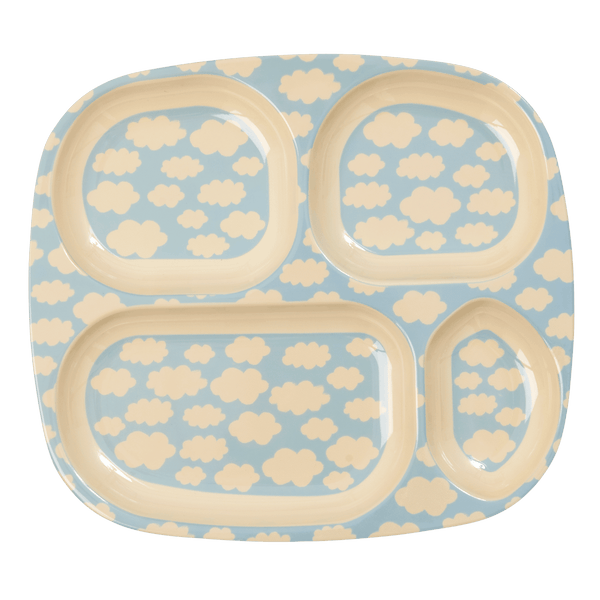 RICE,4-Room Plate with Cloud Print, Blue,CouCou,Kitchenware