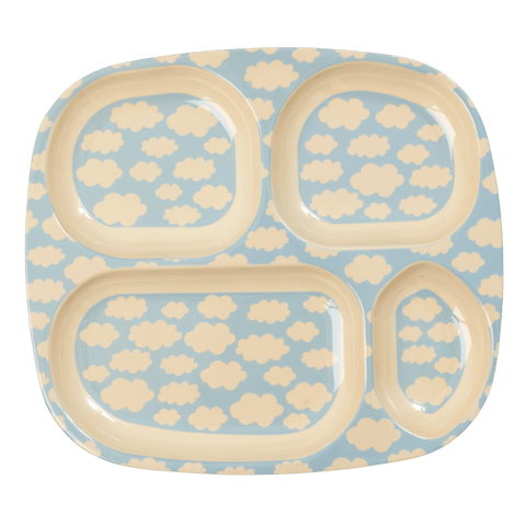 4-Room Plate with Cloud Print, Blue