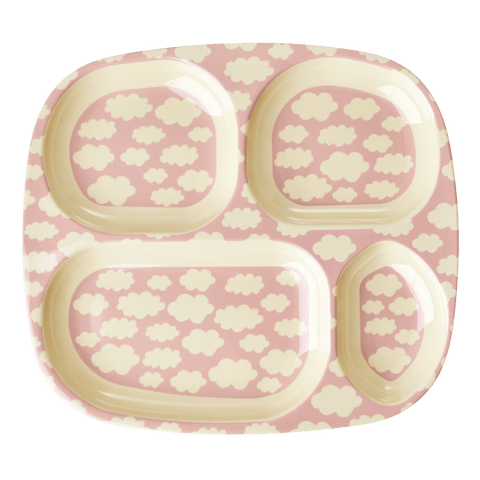 4-Room Plate with Cloud Print, Pink