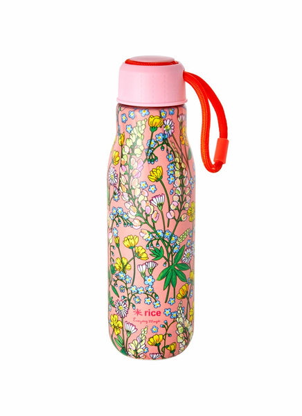 Stainless Steel Drinking Bottle with Coral Lupin Print